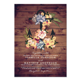 Rustic Floral Anchor | Elegant Wedding Party Card