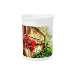Rustic Floral and Farm Truck Beverage Pitcher