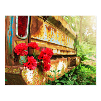 Rustic Floral and Farm Truck Postcard
