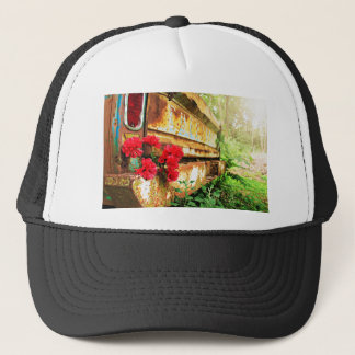 Rustic Floral and Farm Truck Trucker Hat
