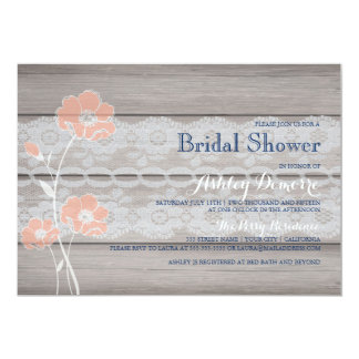 "Rustic Floral and Lace Bridal Shower Invitation 5"" X 7"" Invitation Card"