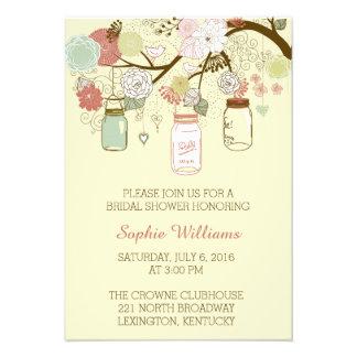 Rustic Floral and Mason Jar Bridal Shower Card
