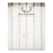 Rustic Floral Antlers Shabby Chic Roses & Wood Letterhead