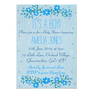 Rustic Floral Baby Shower Invitation - Boy