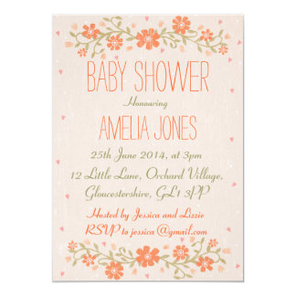 Rustic Floral Baby Shower Invitation - Unisex