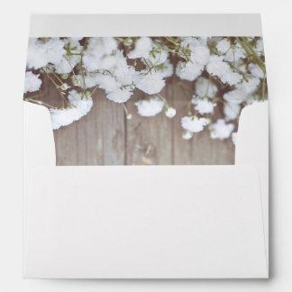 Rustic Floral Baby's Breath Wedding Envelope