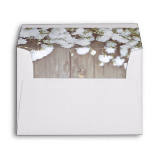 Rustic Floral Baby's Breath Wedding Envelope