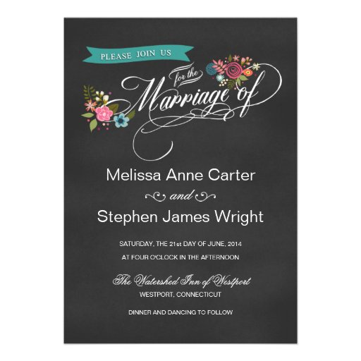 Rustic Floral Banner Chalkboard Wedding Invites