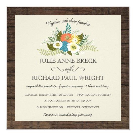 Rustic Floral Barn Wood Wedding Invitations