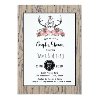 Rustic Floral Barnwood Hunt is Over Couple Shower Card