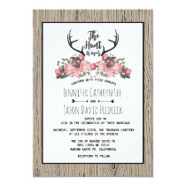 Rustic Floral Barnwood Hunt is Over Wedding Invitation
