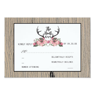 Rustic Floral Barnwood Hunt is Over Wedding RSVP Card