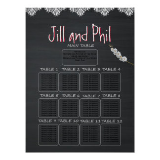 Rustic Floral Black Chalkboard Seating Chart Poster
