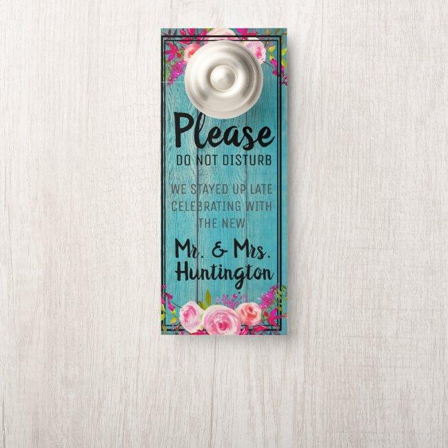 Rustic Floral Blue Barnwood Wedding Do Not Disturb Door Hanger