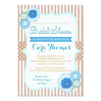 "Rustic Floral Blue Bridal  Shower invitation 5"" X 7"" Invitation Card"