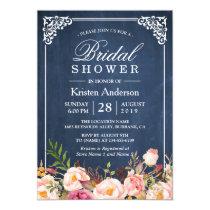 Rustic Floral Blue Chalkboard Classy Bridal Shower Invitation