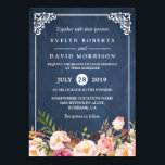 """Rustic Floral Blue Chalkboard Formal Wedding Card<br><div class=""""desc"""">================= ABOUT THIS DESIGN ================= Rustic Floral Blue Chalkboard Formal Wedding Invitations. (1) For further customization, please click the &quot;Customize it&quot; button and use our design tool to modify this template. (2) If you prefer thicker papers, you may consider to choose the Matte Paper Type. (3) If you need help...</div>"""