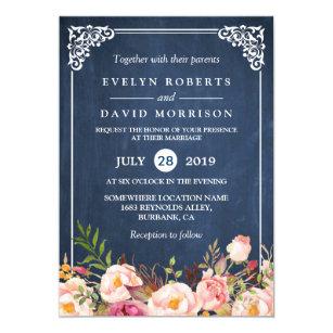 Formal invitations announcements zazzle rustic floral blue chalkboard formal wedding card stopboris Choice Image