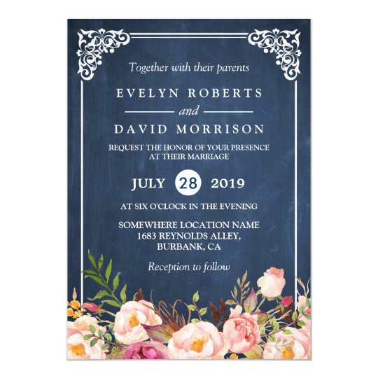 Rustic floral blue chalkboard formal wedding card zazzle rustic floral blue chalkboard formal wedding card stopboris