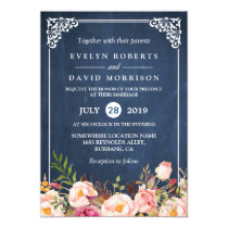 Rustic Floral Blue Chalkboard Formal Wedding Invitation