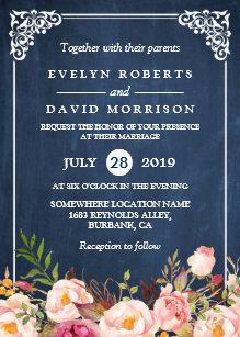 rustic floral blue chalkboard formal wedding invitation zazzle com