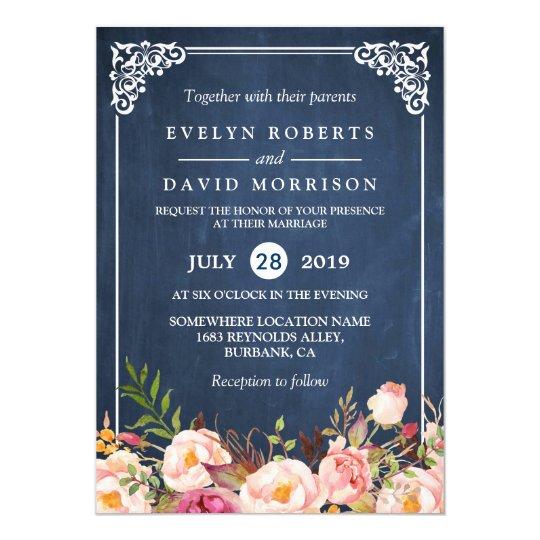Rustic floral blue chalkboard formal wedding invitation zazzle rustic floral blue chalkboard formal wedding invitation stopboris Image collections