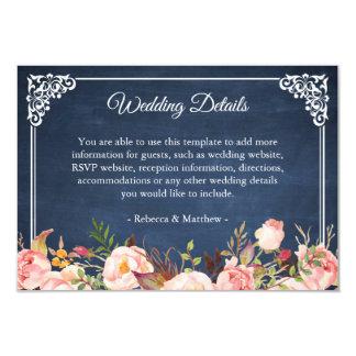 Rustic Floral Blue Chalkboard Wedding Details Card