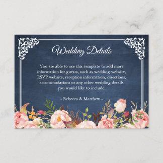Rustic Floral Blue Chalkboard Wedding Details Enclosure Card