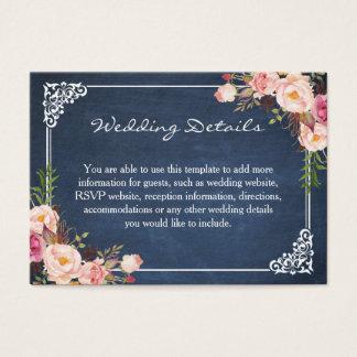 Rustic Floral Blue Chalkboard Wedding Insert Card