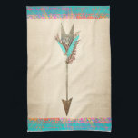 "Rustic Floral Bohemian Arrow Hand Towel<br><div class=""desc"">A rustic arrow with floral and turquoise-feather fletching against a textured beige background,  with colorful neon tribal pattern trim.</div>"