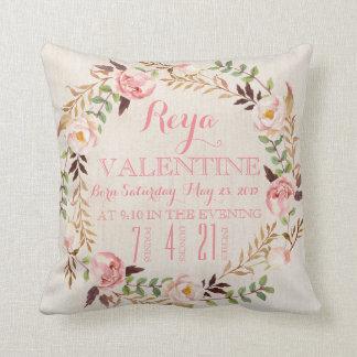 Rustic Floral Bohemian Birth Stats Pillow