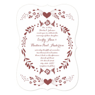 Rustic Floral Bohemian Boho Folk Art Wedding Card