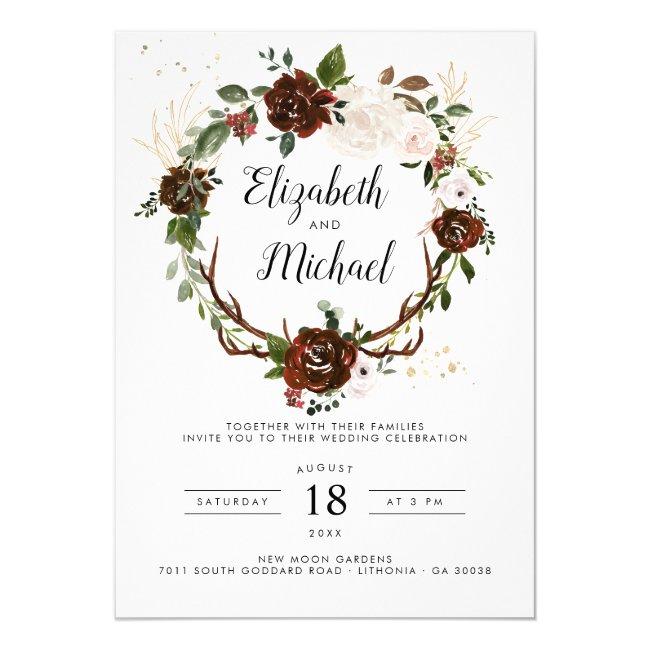 Rustic Floral | Boho Botanical Wedding Invitation