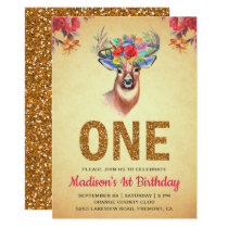Rustic Floral Boho Deer First Birthday Invitation