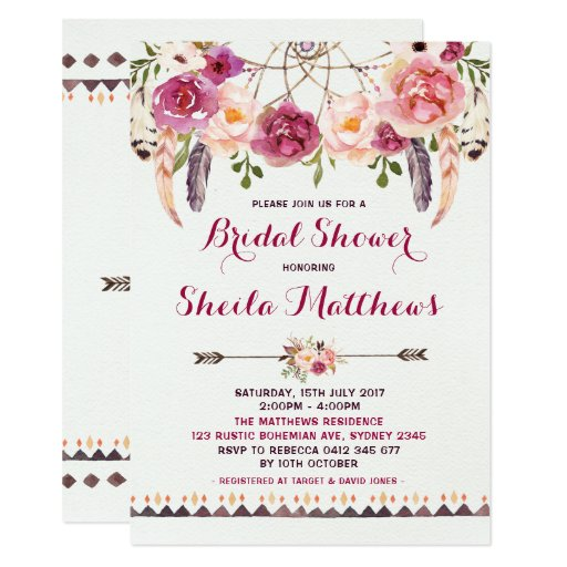 Rustic Floral Boho Invitation Bridal Shower Invite