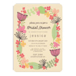 Rustic Floral Border Bridal Shower Party Invitations