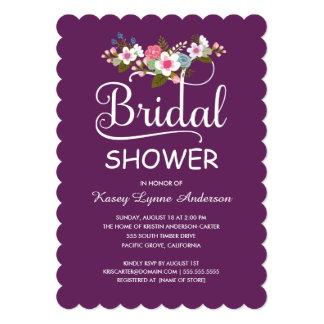 Rustic Floral Bouquet Bridal Shower - Purple Card