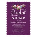 Rustic Floral Bouquet Bridal Shower - Purple 5x7 Paper Invitation Card