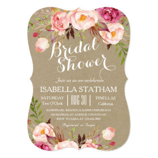 Rustic Floral Bridal Shower/kraft paper texture Card