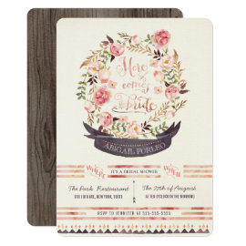 Rustic Floral Bridal Shower Party Invitations