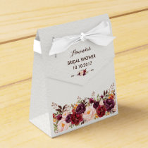 Rustic Floral Bridal Shower Pink Marsala Favor Box