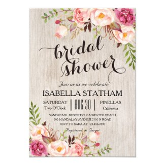 Rustic Floral Bridal Shower/Watercolor bg Card