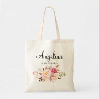 Rustic Floral Bridesmaid Personalized-01 Tote Bag