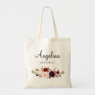 Rustic Floral Bridesmaid Personalized-04 Tote Bag