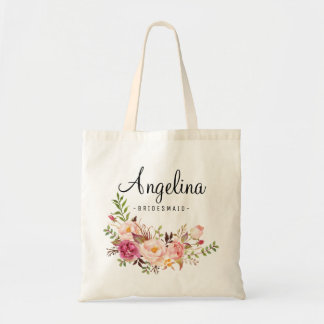 Rustic Floral Bridesmaid Personalized-6 Tote Bag