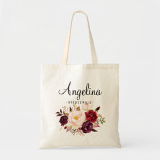 Rustic Floral Bridesmaid Personalized Tote Bag at Zazzle
