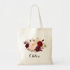 Rustic Floral Bridesmaid,wedding Gift Tote Bag at Zazzle
