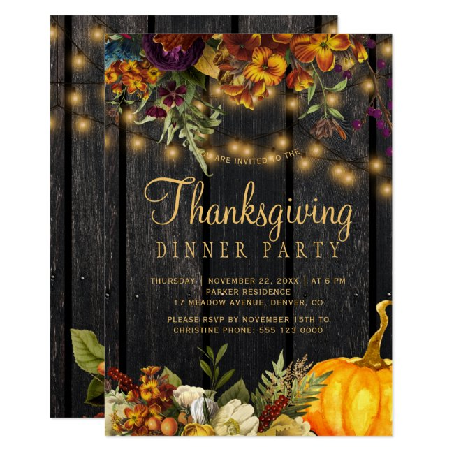 Rustic floral brown barn wood Thanksgiving dinner Invitation