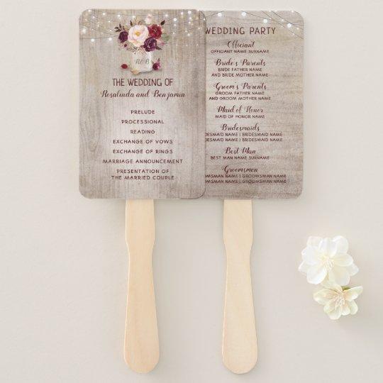 Rustic Mason Jar Floral Wedding Invitations Burgundy: Rustic Floral Burgundy Mason Jar Wedding Program Hand Fan