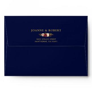 Rustic Floral Burgundy Navy Gold & Return Address Envelope